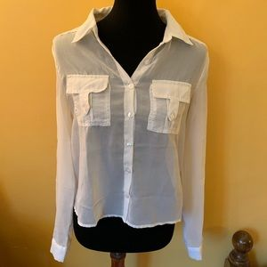 White chiffon button down top